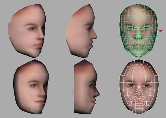 Figure 2. High and low poly-count models with the same face texture. Profiles suffer greatly on light models, but harsh shadows must also be dealt with in fuller views. Wire overlays on right show the underlying polygonal structure of both faces.