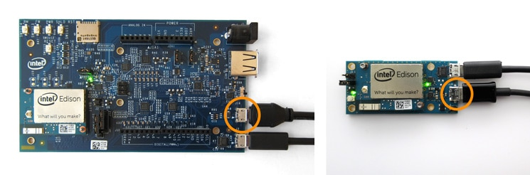 Side-by-side example of connecting to the device mode port on the Arduino* expansion board and the mini breakout board