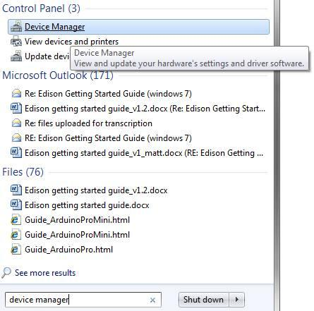 Device Manager in the Windows 7 Start Menu