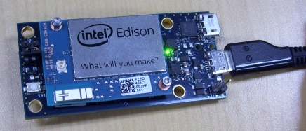 Example of a powered Edison board with mini breakout board