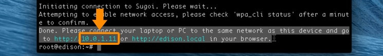 The IP address displayed in the Done message