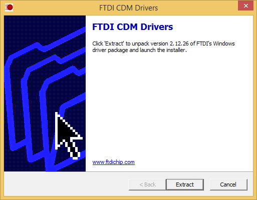 First screen of FTDI* CDM driver installer