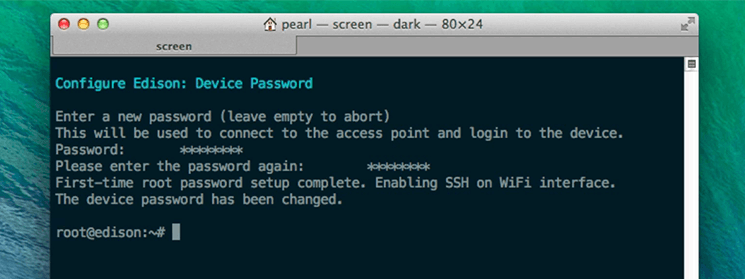 Password set after using configure_edison