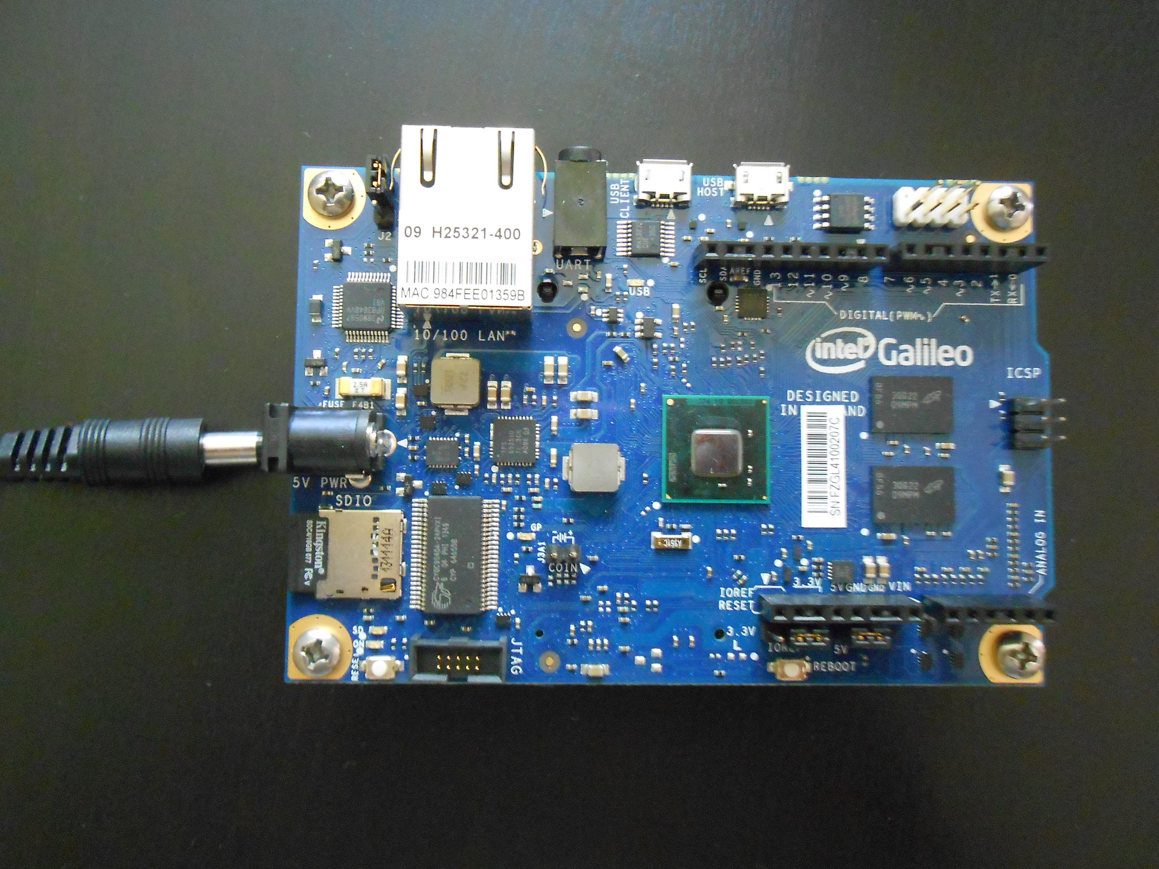 Galileo Gen 1 with power cable
