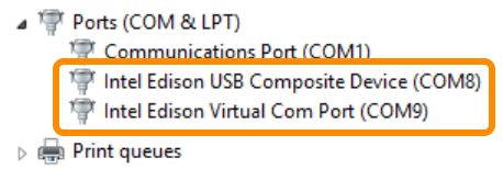 Intel® Edison board COM port entries in Device Manager highlighted