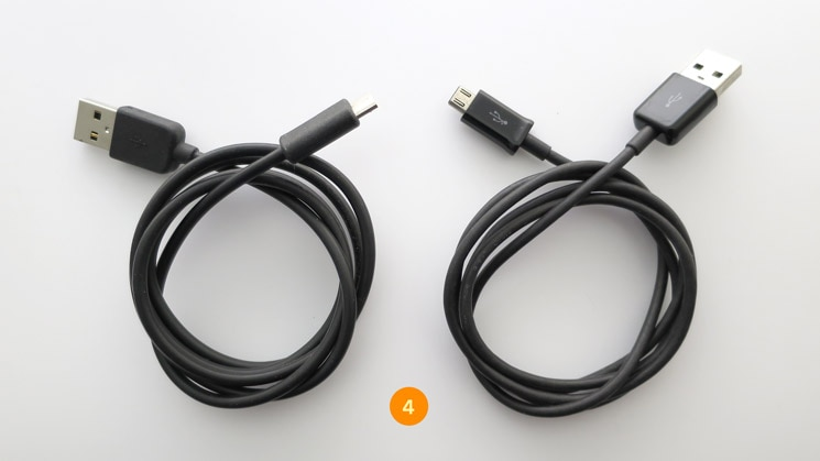 Additional cables include two micro USB cables