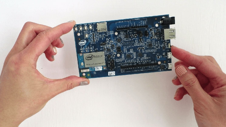 The Intel® Edison compute module installed
