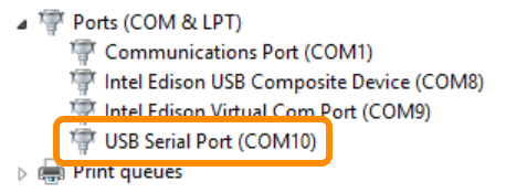 USB Serial Port entry in Device Manager