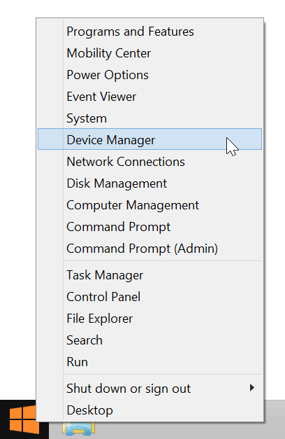 Device Manager in the Windows 8 Start Menu