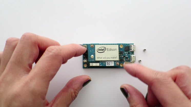 Placement of the Intel® Edison compute module on the mini breakout board
