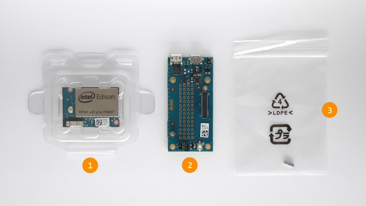 Contents of the Intel® Edison Breakout Board Kit retail box