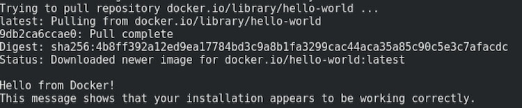 docker run hello-world result example