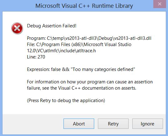 Debug Assertion Failed with the Default ATL Project Created by