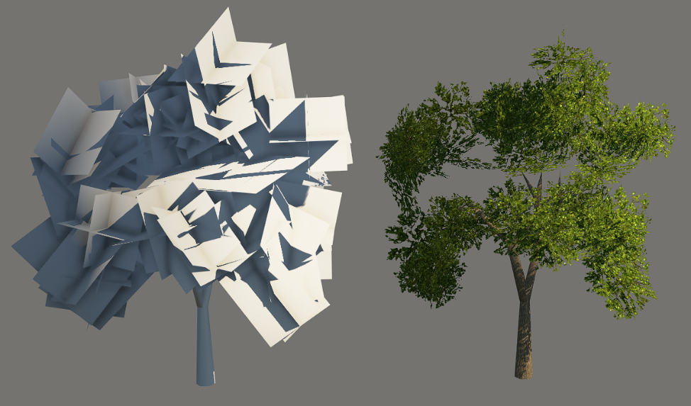 Highest detail of tree mesh shown when the game runs in low-quality settings, 458 triangles