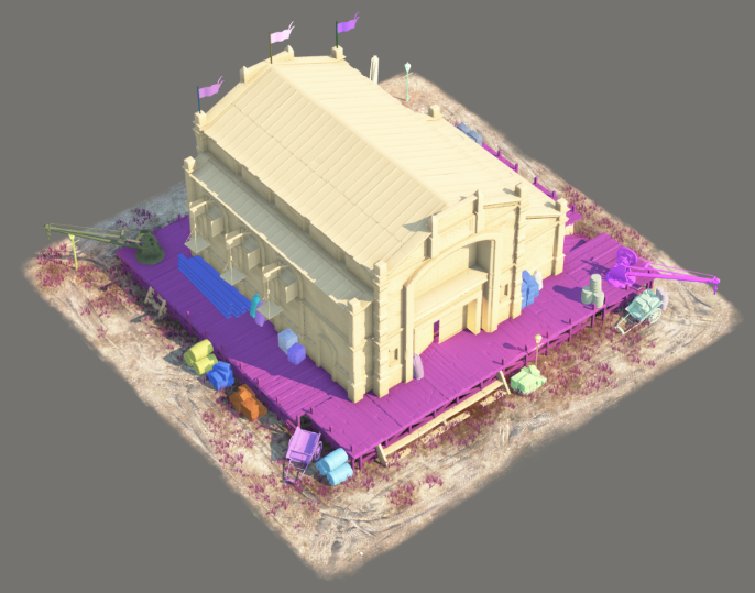 A warehouse building with its sub objects colorized. Most of the sub objects are culled by camera distance.