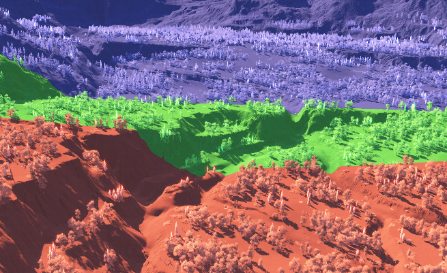 Colorized view of active shadow cascades at near-level camera pitch.