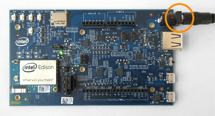 An external power supply connected to the power barrel of the Arduino* expansion board