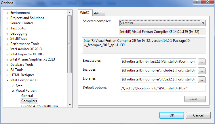 Visual Studio 2010 and later compiler selection dialog