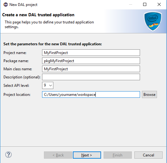 Create a new DAL trusted application