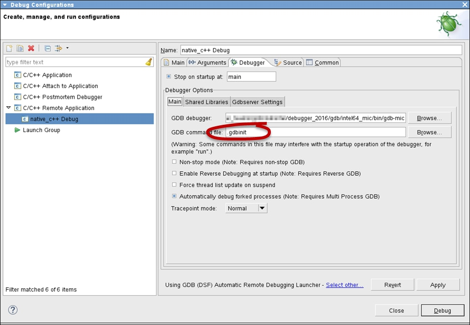 Eclipse* IDE Debug Configuration Window (Debugger) -- specify .gdbinit