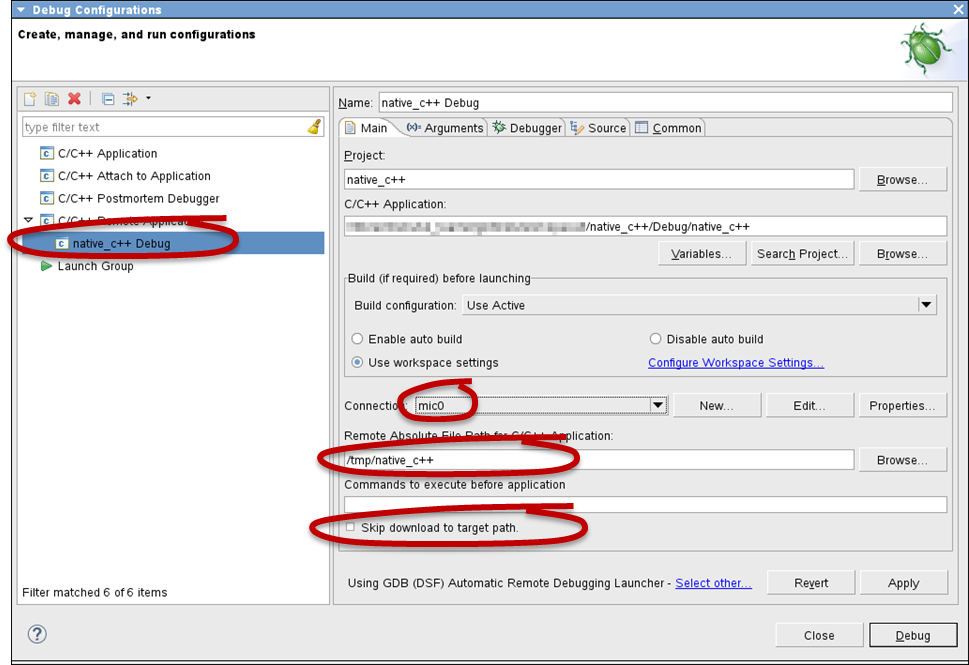 Eclipse* IDE Debug Configuration Window