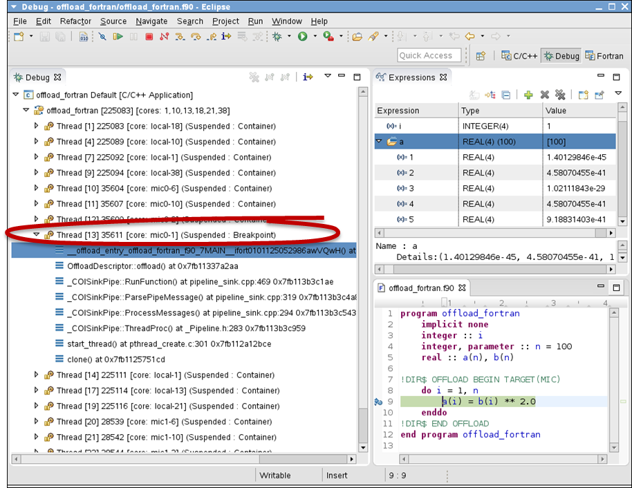 Eclipse* IDE Offload Debug Session with Fortran (Example)
