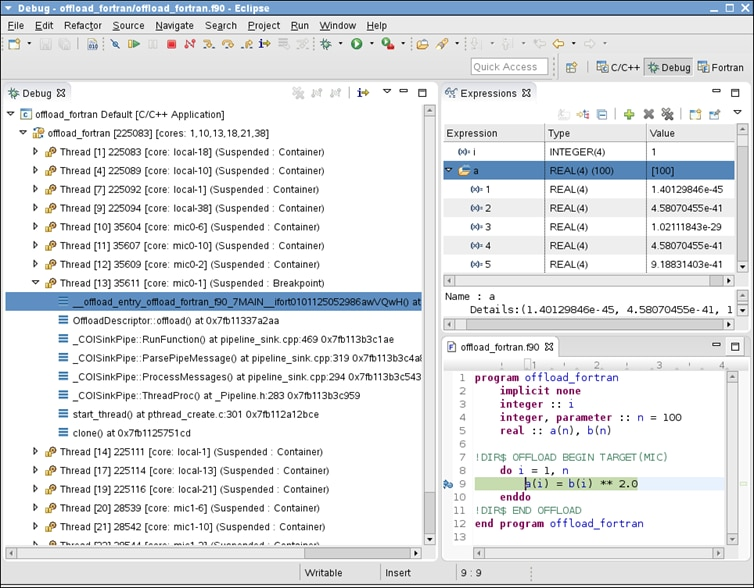 Eclipse* IDE Offload Debug Session with Fortran