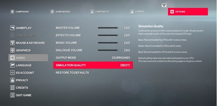 audio simulation quality setting