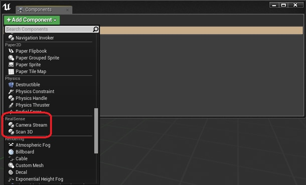 RealSense Plugin components in the Unreal Engine* 4 editor