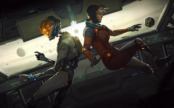Game screenshot of Captain Olivia Rhodes and AI-robot floating in zero gravity