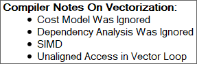 "Compiler Notes as shown in Intel Advisor. ""Unaligned Access in Vector Loop"" is the most interesting entry here."