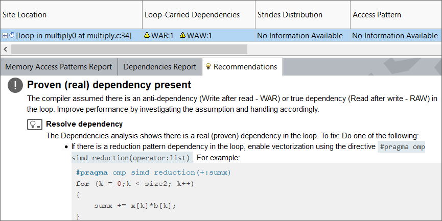 Advisor's Dependencies analysis has proven the existence of dependencies but recommended a workaround.