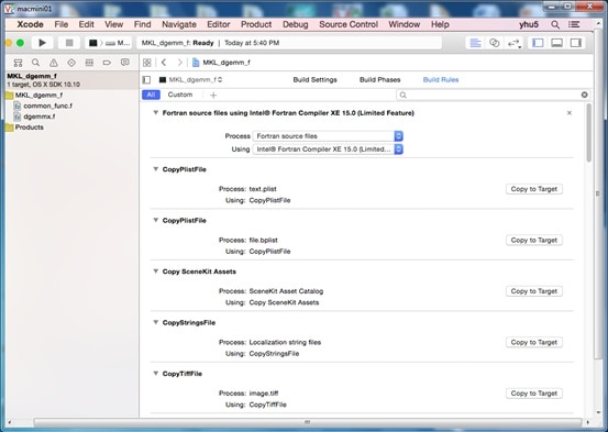 Quick Link Intel® MKL In Xcode* IDE: A Fortran Sample
