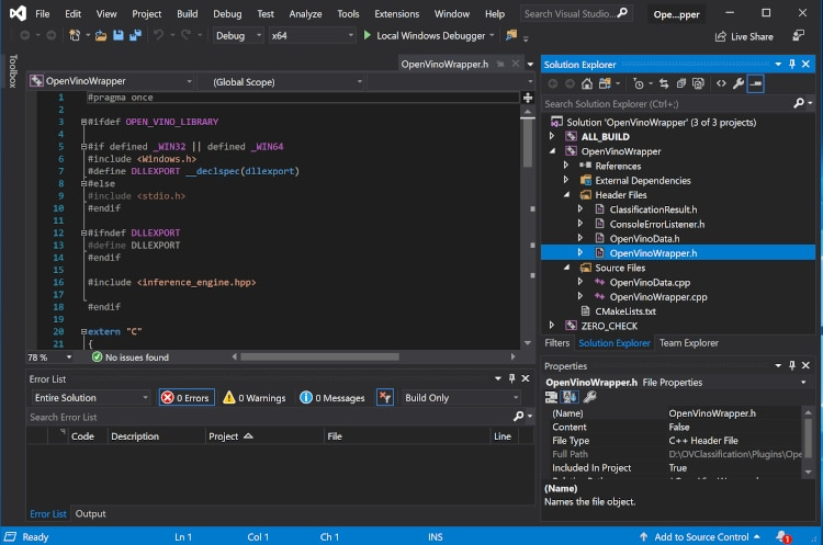 OpenVinoWrapper D L L Microsoft Visual Studio solution