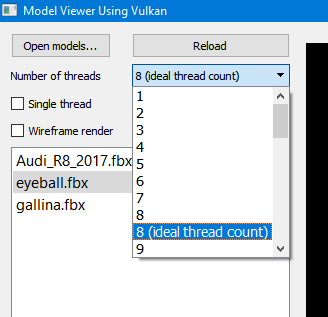 Thread selection is simplified with drop-down window