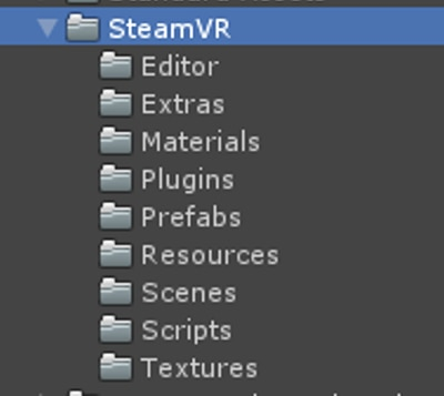 screenshot of file structure in unity