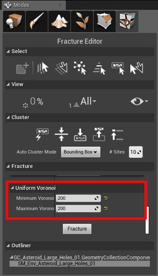 editor mode menu with uniform voronoi configuration highlighted