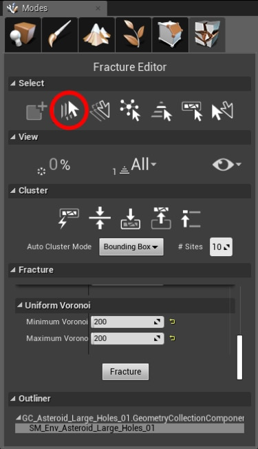 select all tool icon highlighted in menu