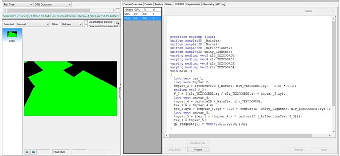 Editing a shader to output a hardcoded green value, making the draw call 57.7% faster