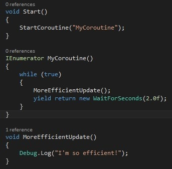 More efficient update using co-routines