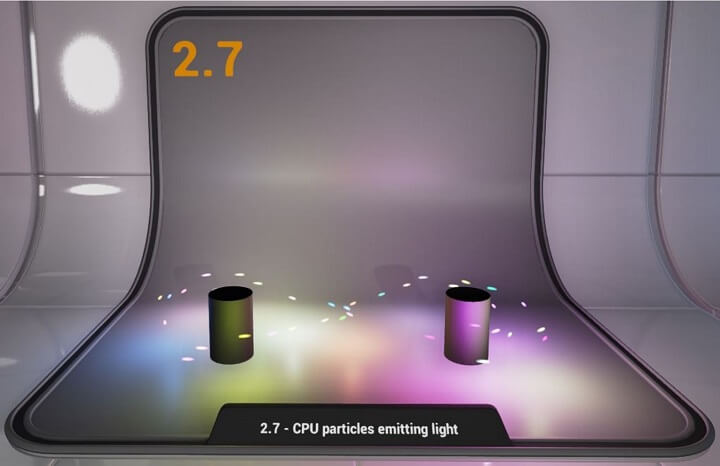 processor particles emitting light
