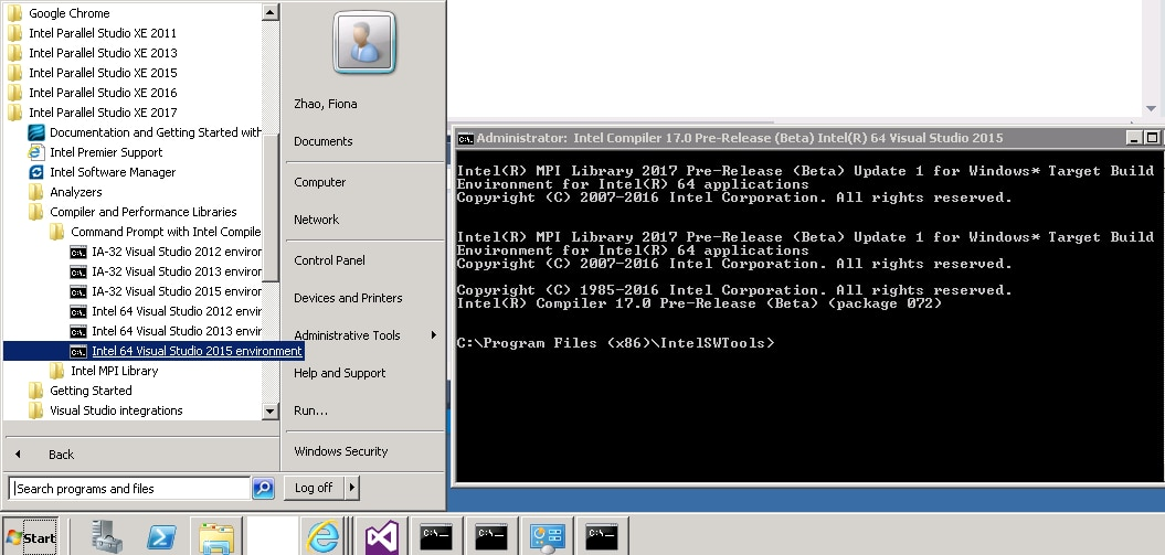 Use command prompt for icc