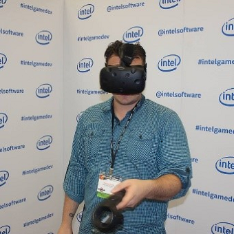 individual wearing a VR headset