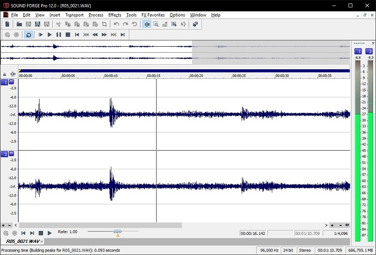 two sound recording's sound waves