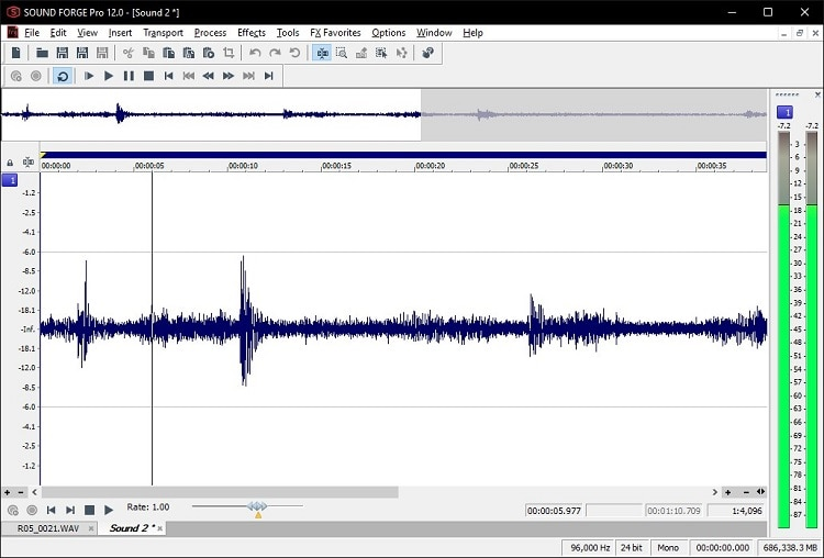 sound waves of audio recordings
