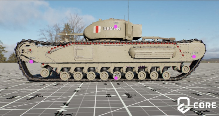 Profile view of game tank details