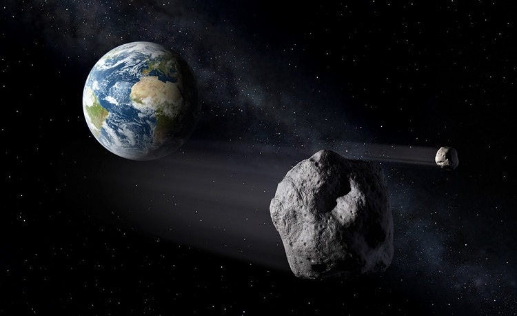 space scene, asteroid and planet