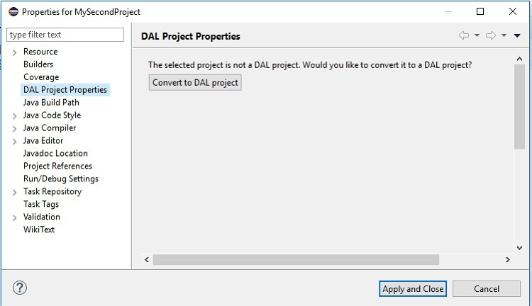 DAL project properties U I