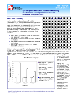 TEST REPORT  NOVEMBER 2006  System performance in predictive modeling  and business intelligence scenarios on  Microsoft Windows Vista