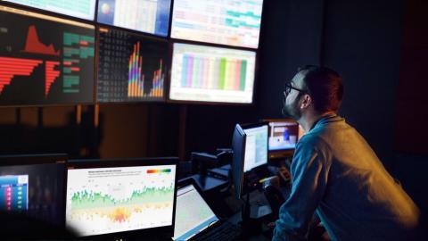 Man monitoring operations